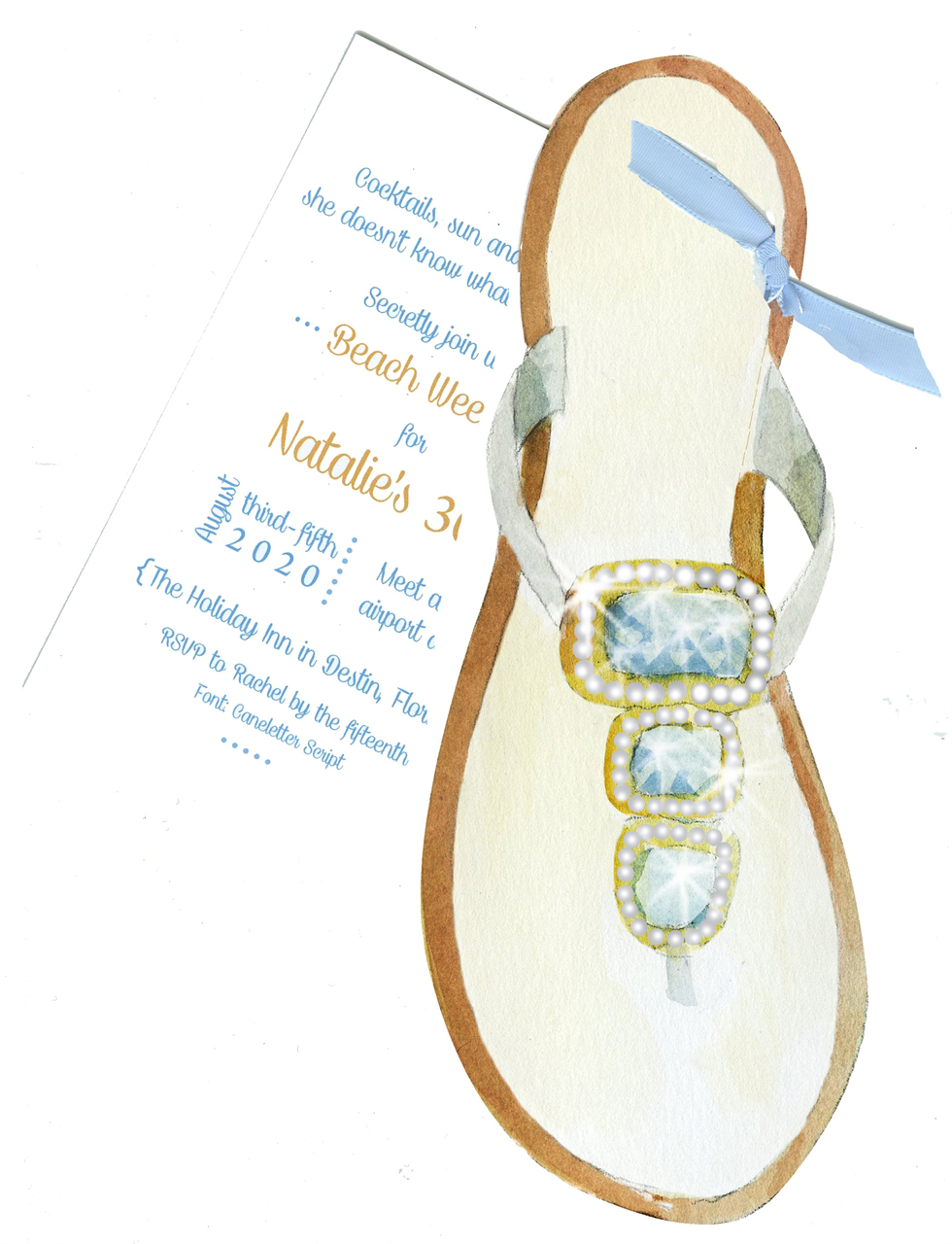 Beaded Sandal Beach Party Invitation with Glitter