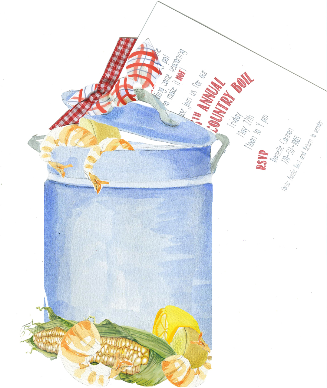 Low Country Boil Cookout Invitation with Glitter