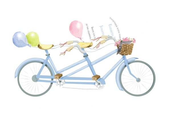 Bicycle Built for Two Invitation with Real Glitter