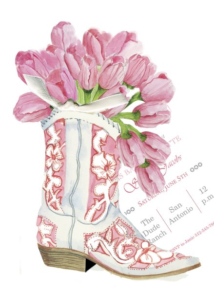 Cowgirl Boot with Tulips Invitation with Real Glitter