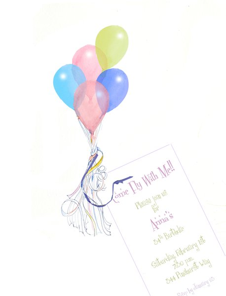Fly Away Balloon Invitation with Glitter