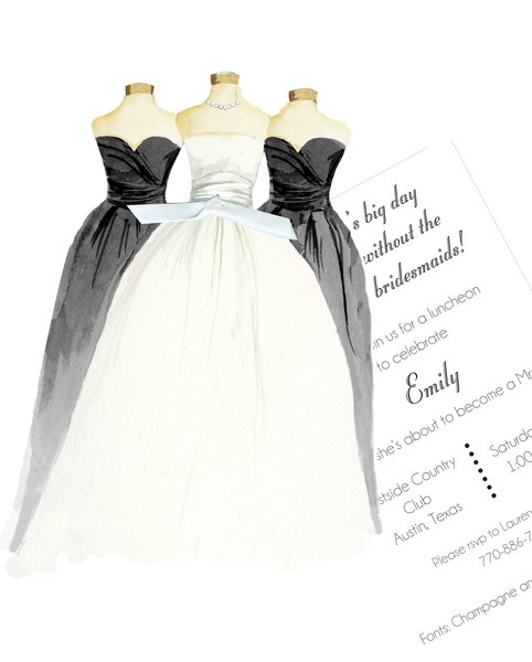 Bride and Bridesmaid in Black Bridal Invitation with Glitter