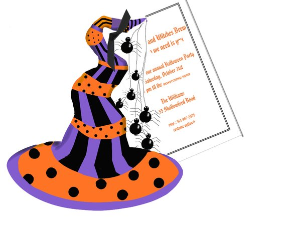 Witches Hat Invitation with Glitter