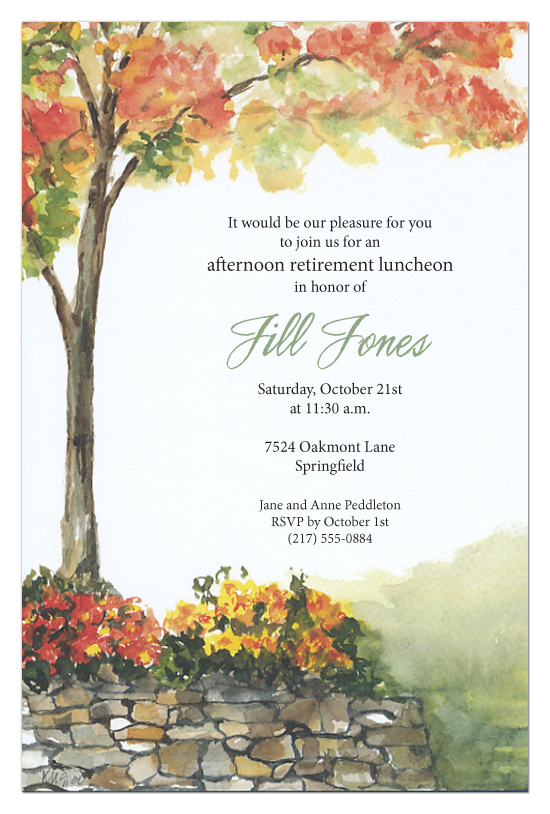 stone wall invitation afternoon retirement luncheon invites