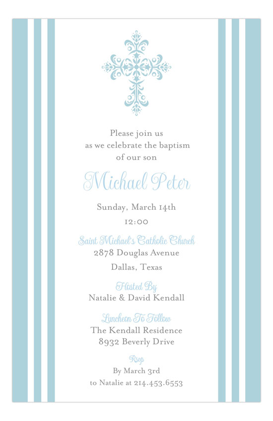 Striped Cross Blue Invitation