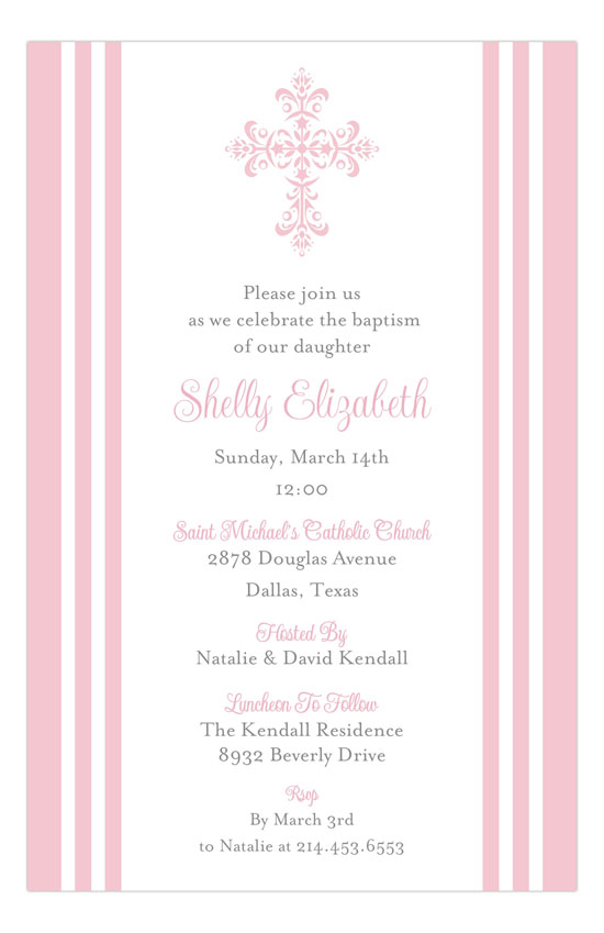 Striped Cross Pink Communion Invitation for Girls