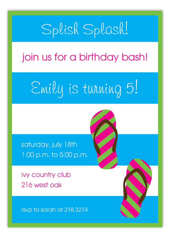 Stripes and Flip Flops Invitation