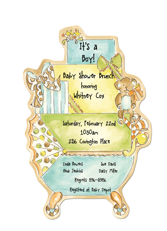 Stroll In The Park Blue Die-cut Invitation