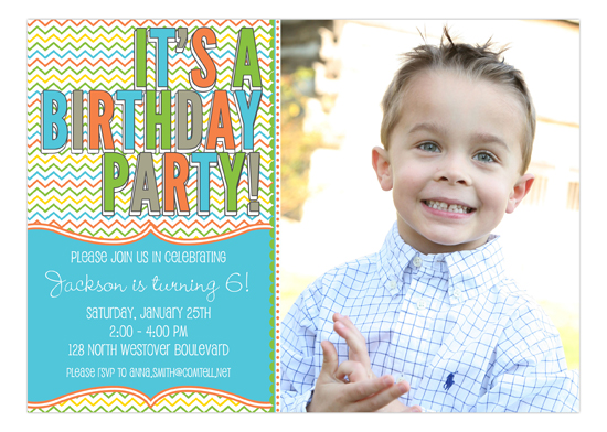 Stylish Chevron Boy Photo Invitation