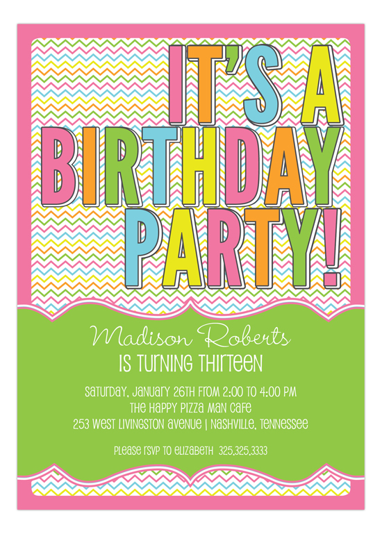 Stylish Chevron Birthday Party Invitation