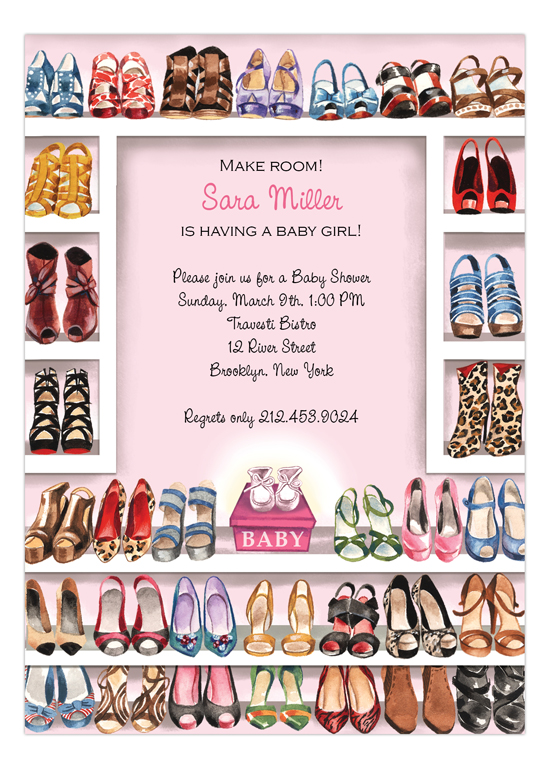 Stylish Shoe Closet - Baby Girl Invitation