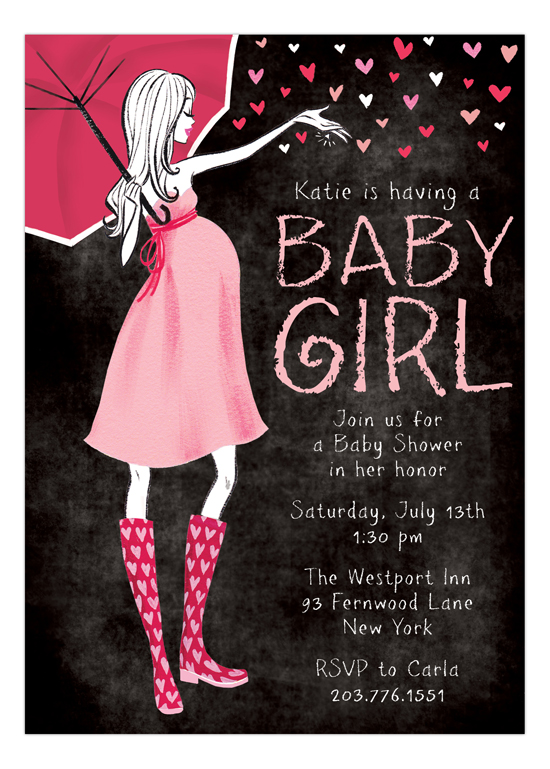 Stylish Shower Chalkboard Girl Invitation