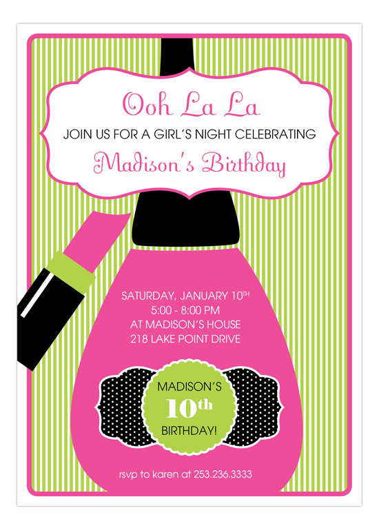 Stylish Spa Ooh La La Invitation