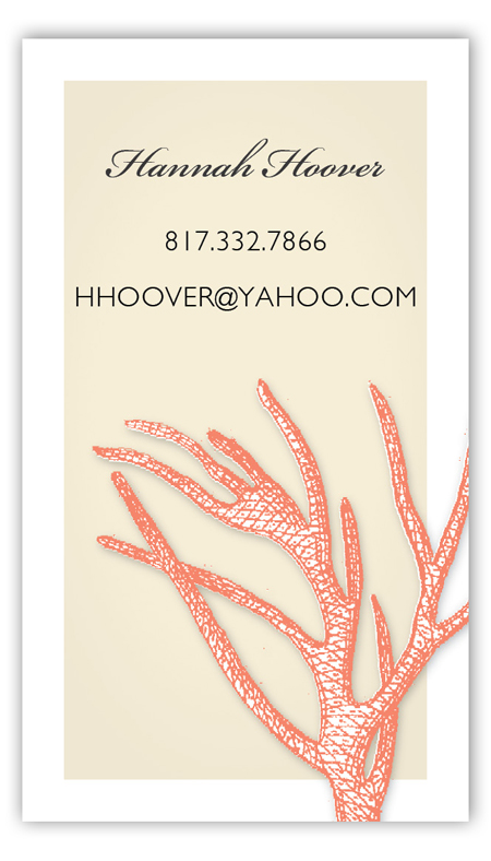 Summer Coral Calling Card