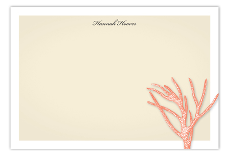 Summer Coral Flat Note Card