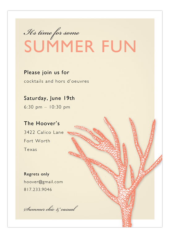 Coral Nautical Summer Party Invitations