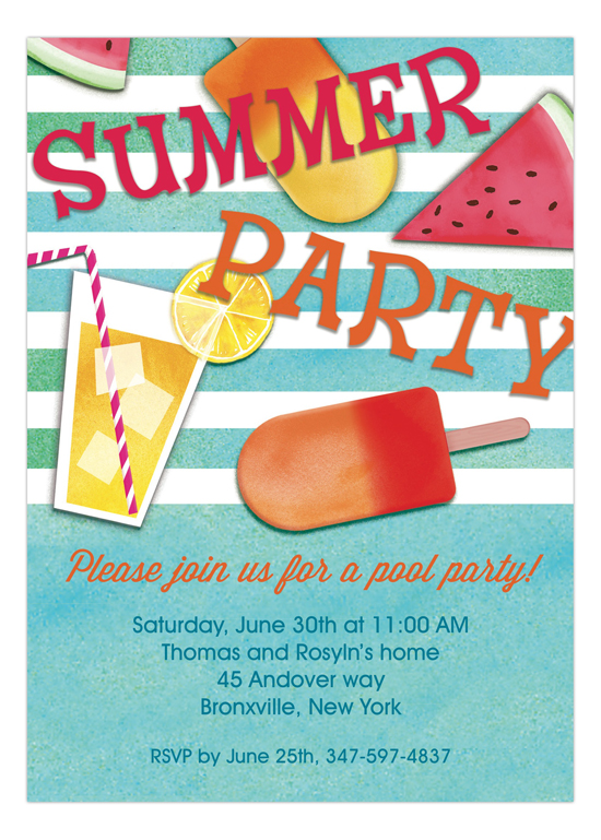Summer Essentials Blue Summer Invitations