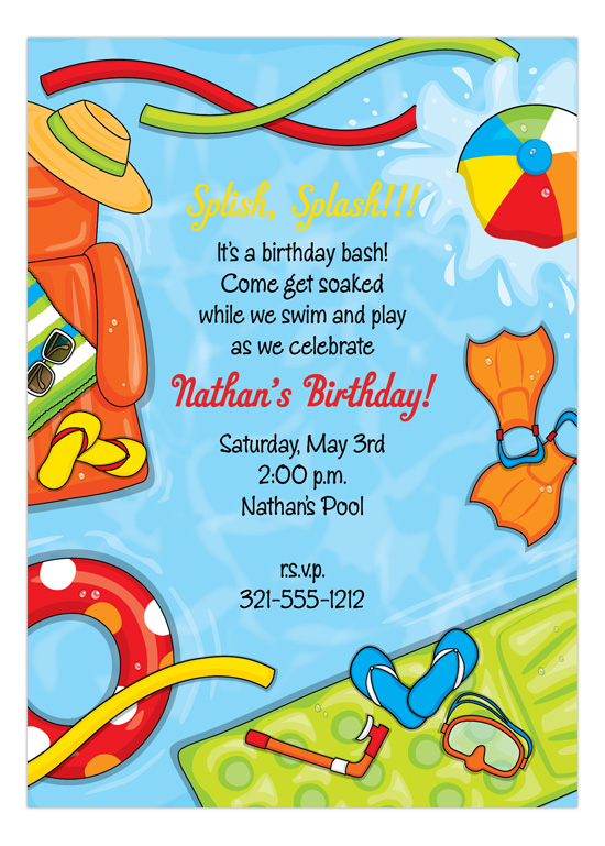 Summer Splash Pool Party Invitations  Kids Summer Party Invites