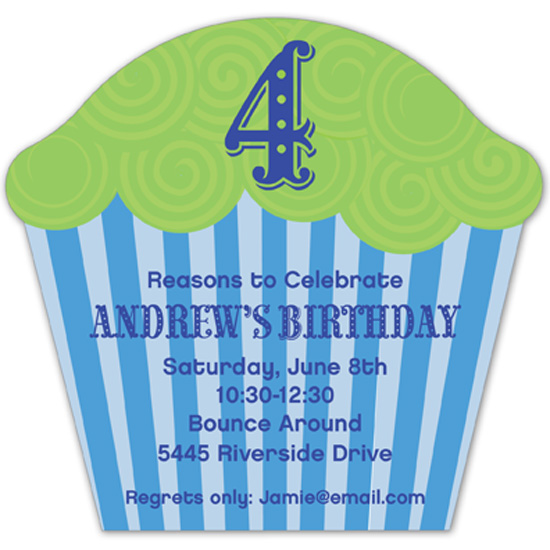 Super Sweet Blue Cupcake Invitation