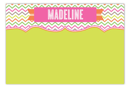 Sweet and Stylish Chevron Girl Flat Note Card