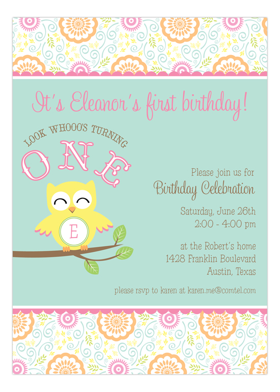 Sweet Owl Invitation
