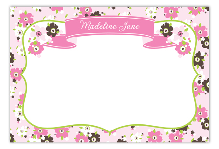 Sweet Pink Tea Time Flat Note Card