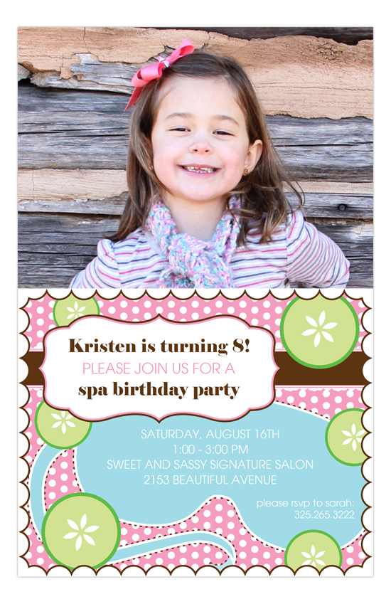 Sweet Spa Photo Kids Birthday Invitation