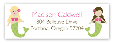 Swimming Mermaids Personalized Return Address Labels
