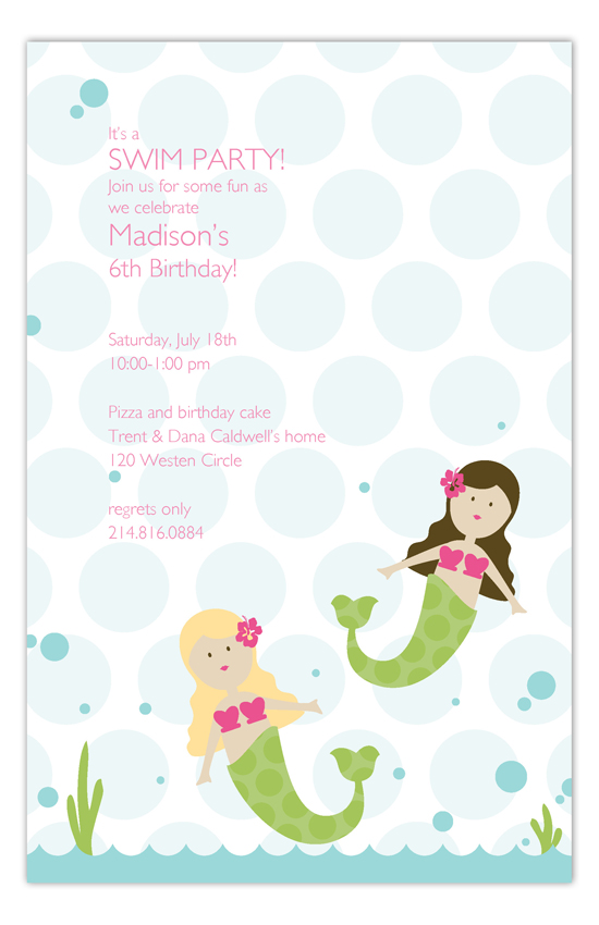 Swimming Mermaids Invitation