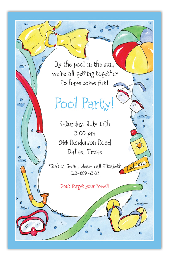 swimming fun kids pool party invitations pool party invitations