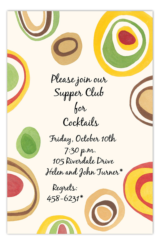 Retro Swirls Cocktails Invitation