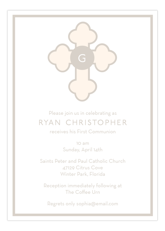 Tan Monogram Cross Invitation