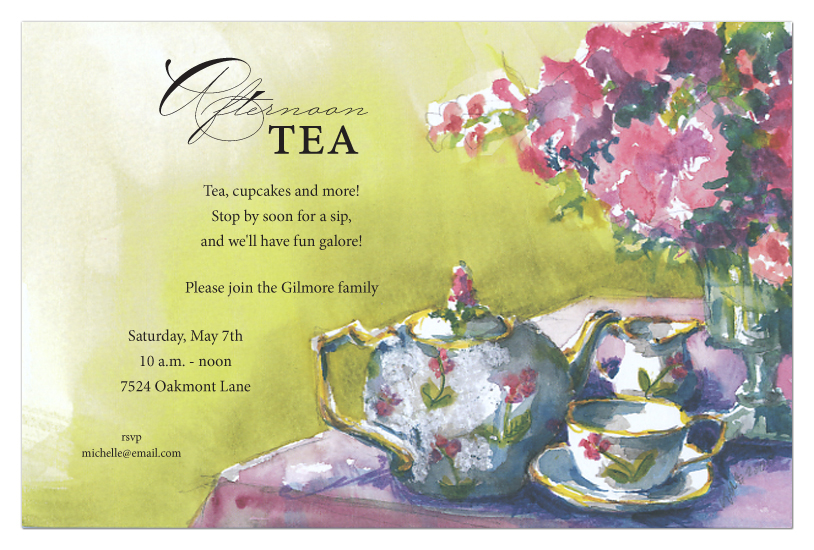 Tea Party Invitation  Polka Dot Design
