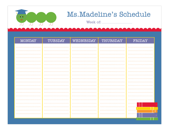 Teacher Weekly Calendar Pad