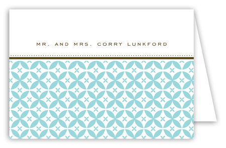 Teal Elegance Folded Note Card