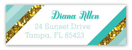Teal Glitter Stripe Address Label