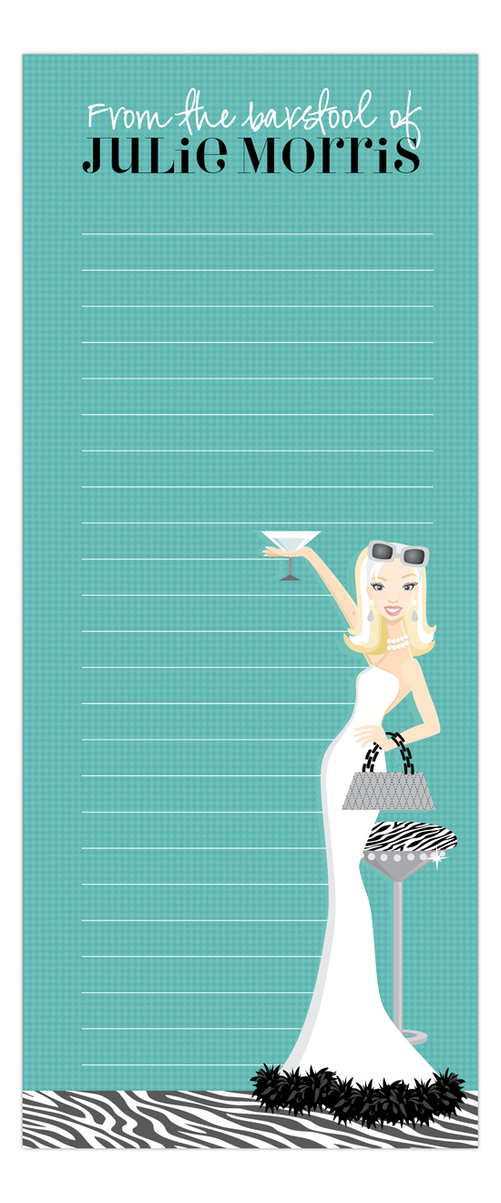 Teal Martini Fab Blonde Skinny Notepad