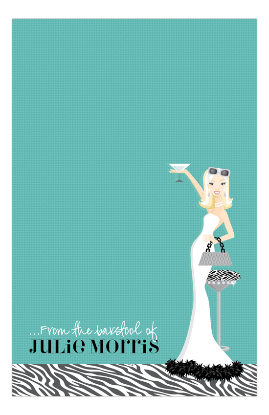Teal Martini Fab Blonde Notepad