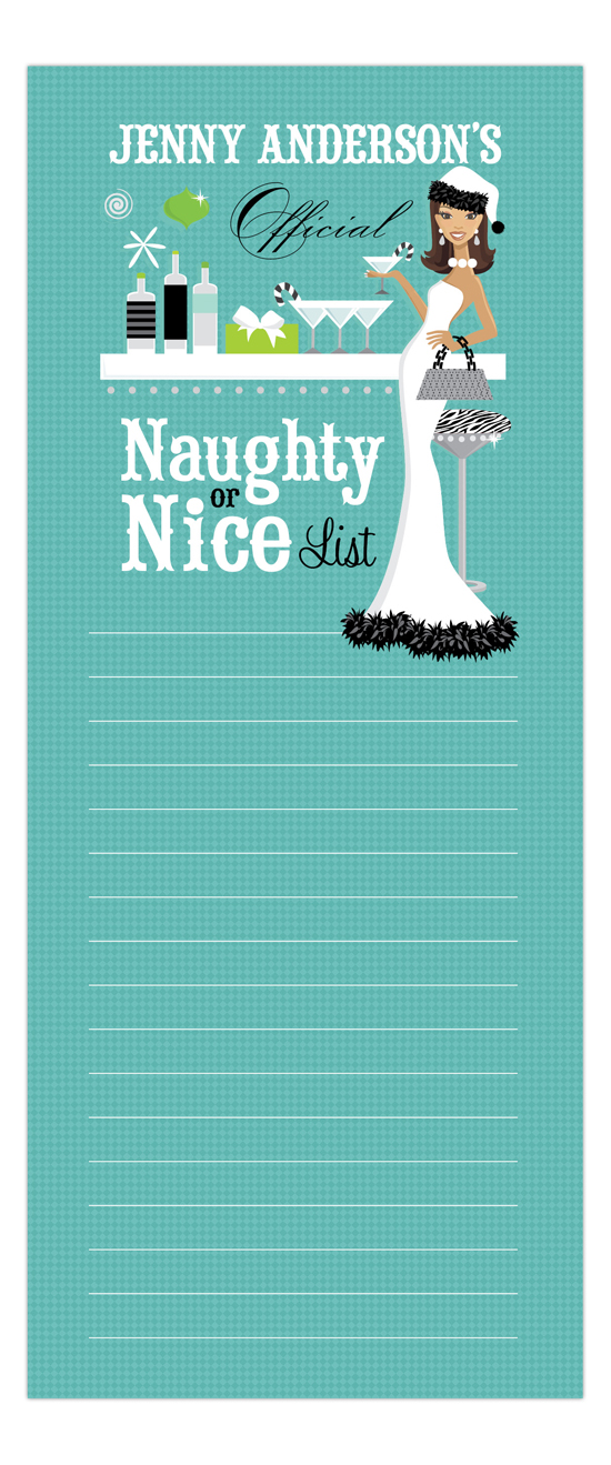 Teal Naughty or Nice African-American Notepad