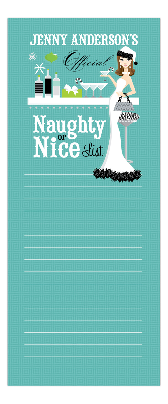 Teal Naughty or Nice Brunette Notepad
