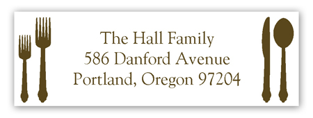 Teal Plated Dinner Address Label