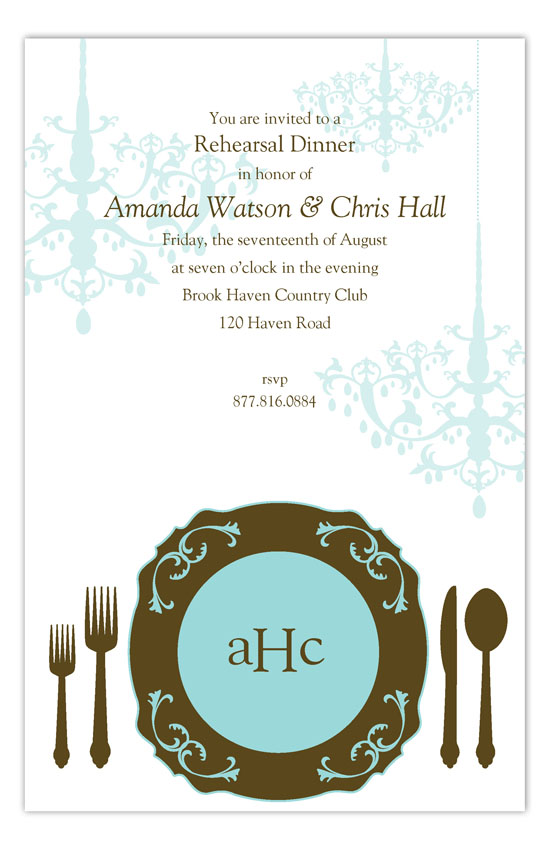 Teal Plated Dinner Invitation