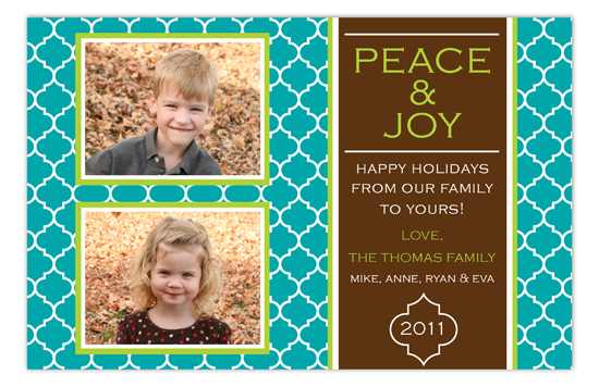 Teal Quatrefoil Two Photo Card