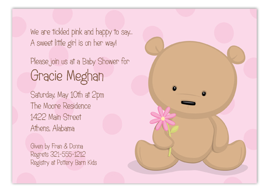 Teddy Bear with Flower Invitation
