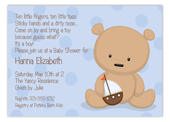 Teddy Bear with Sailboat Invitation Polka Dot Design