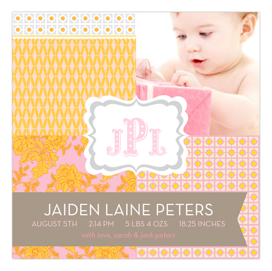 The Perfect Welcome Pale Pink Square Photo Card