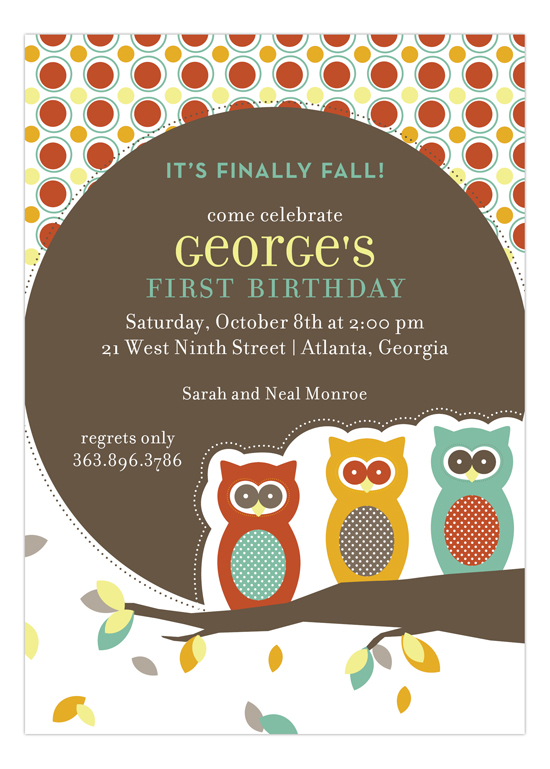 Three Autumn Owls Invitation