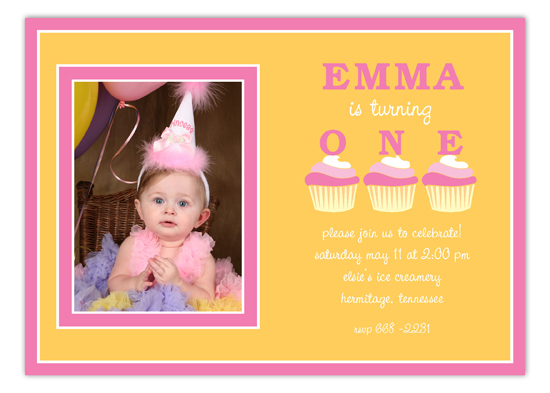 Three Pink Birthday Cupcakes Photo Invitation