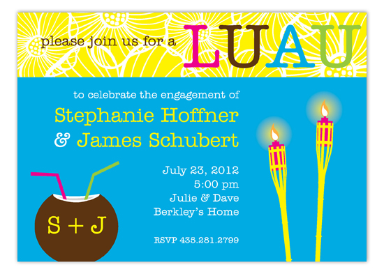 Tiki Torch Hawaiian Luau Invitations