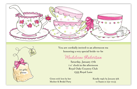 Time for Tea Party Bridal Shower Invites